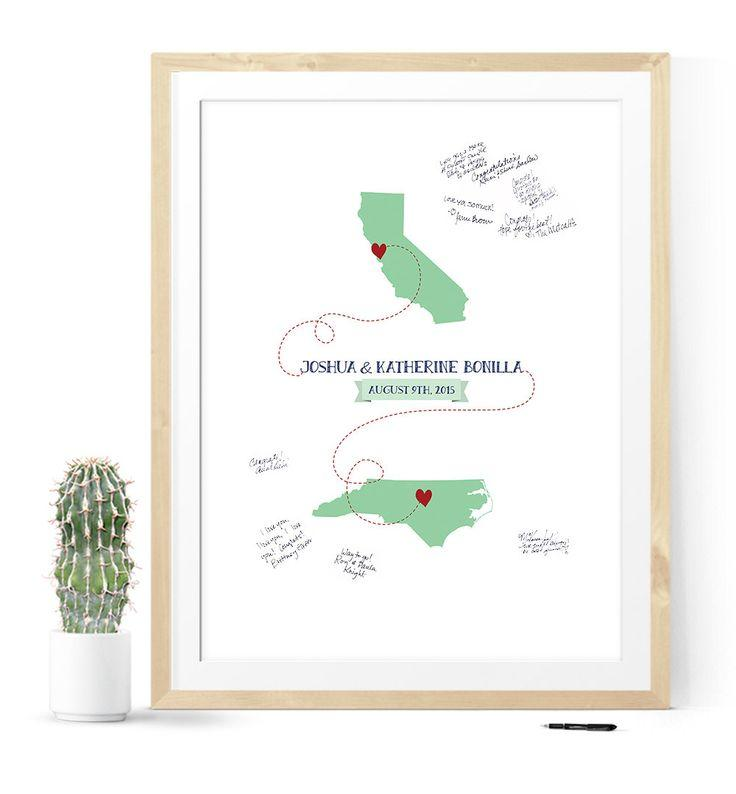 Unique Wedding Guest Book Alternative, Guest Book Map, Unique Guest ...