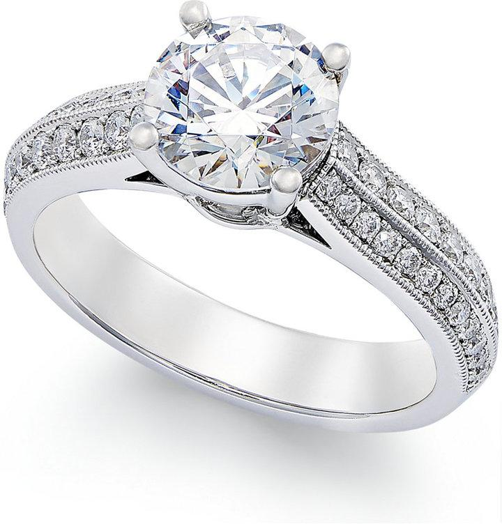 certified engagement ring in platinum 1 9 10 ct