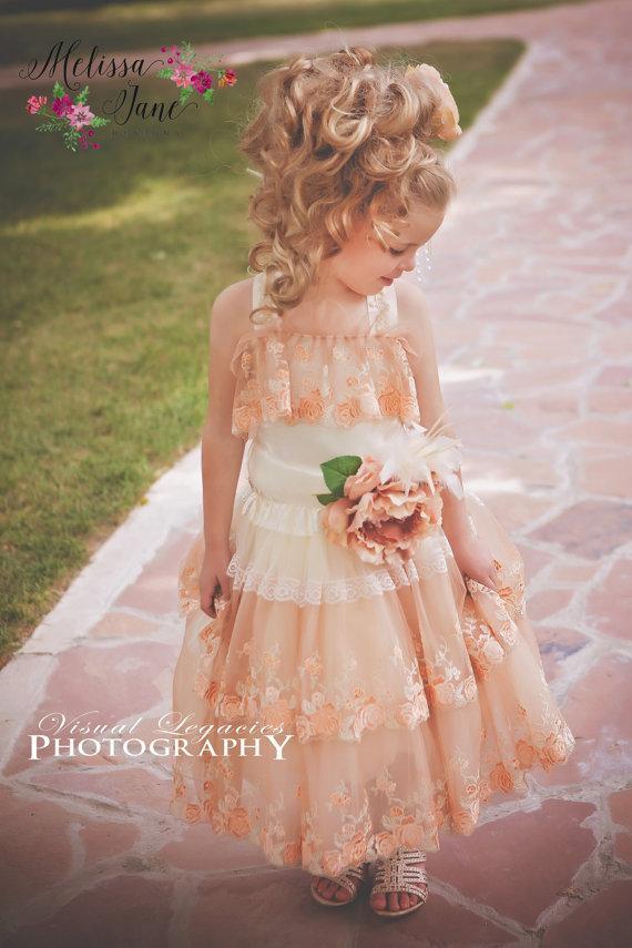 Wedding - Sweet Little Flower Embroidered Flower Girl Dress