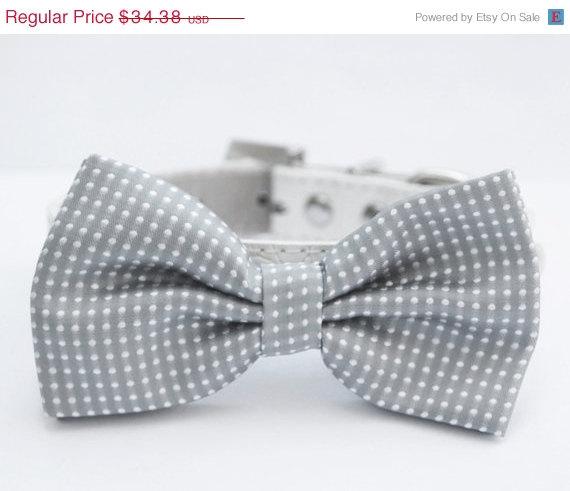 Свадьба - Gray Dog Bow Tie, Cute Dog Bowtie, Wedding Dog Collar- with high quality leather dog collar