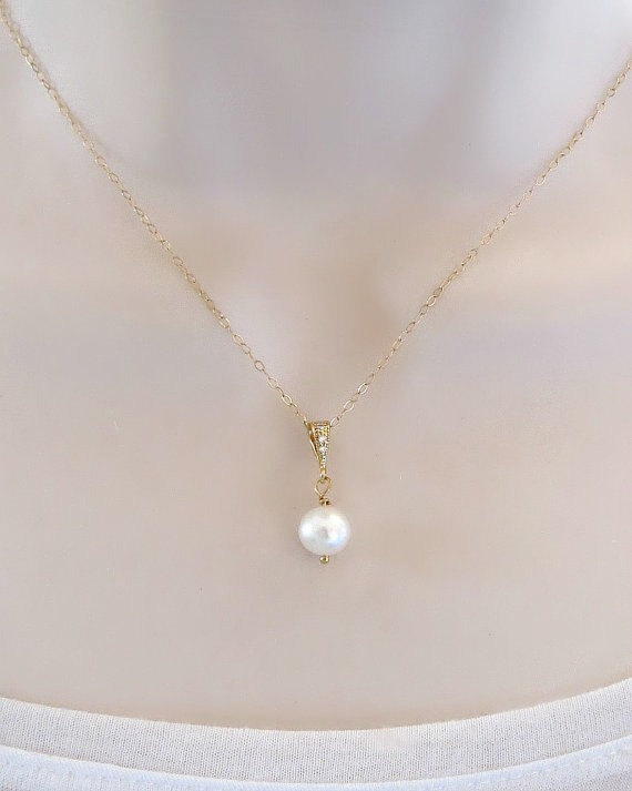 Swarovski Pearl Necklace Gold Or Silver Dainty Single Pearl