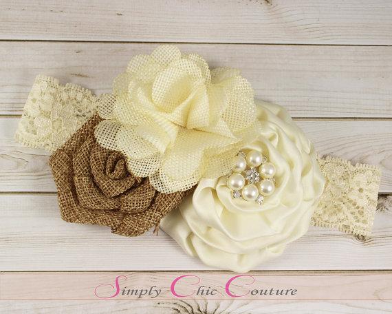 Свадьба - Brown & Ivory Rustic Burlap Headband, Burlap Lace Headband, Flower Girl Headpiece, Wedding Headdress, Country Headband, Burlap Headband