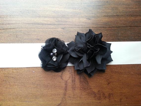 Wedding - Black Chiffon and Satin Bridal Sash Belt;Flower Bridal Belt; Bridal Sash; Wedding Dress Belt; Wedding Dress Sash; Engagement;Maternity Sash