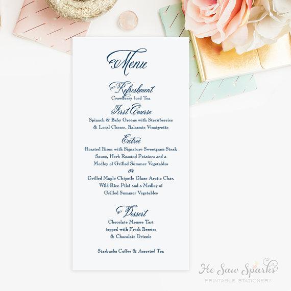 Printable wedding menu card calligraphy weddbook