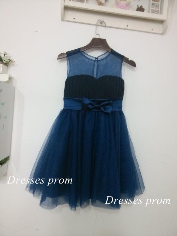 eb73a56e5 Navy Blue Tulle Flower Girl Dress Infant Toddler PAGEANT Bridal ...