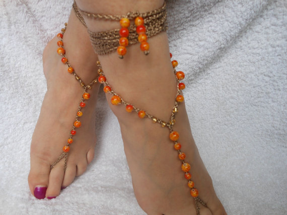 Свадьба - Crochet Barefoot Sandals Beach Wedding  Yoga Shoes Foot Jewelry Orange