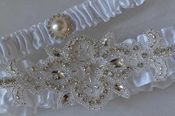 Mariage - Wedding Garter, White Garters With Rhinestone And Pearl Embellishments, Garter Belts, Bridal Garter Sets