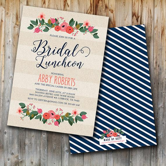Wedding - Whimsy Floral Bridal Luncheon Invitation, Bridal Brunch Invite, Bridesmaids, Wedding Shower, Custom, Printable, Double Sided
