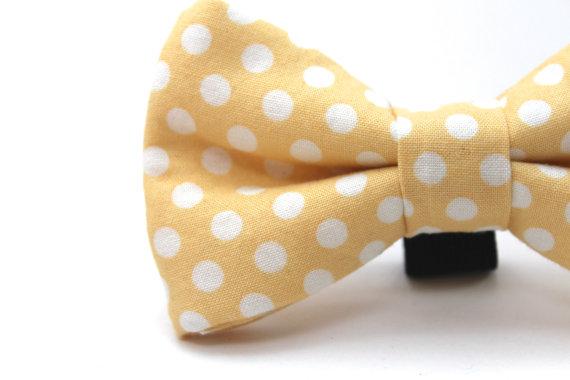 زفاف - Dog Bow Tie, Yellow Polka Dot Bow Tie, Polka dots