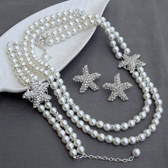 Bridal Pearl Rhinestone Necklace Bracelet Earring Crystal Starfish White Or Ivory Beach Wedding Jewelry Set St010lx