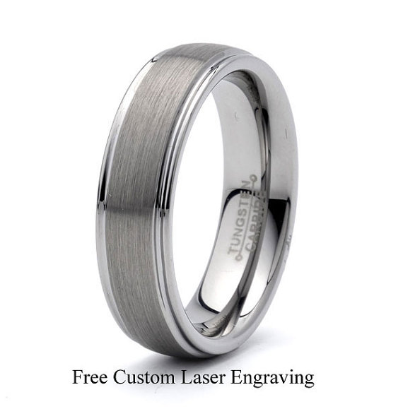 Mariage - Tungsten Wedding Band,Brushed Tungsten,Stepped Polished Edge,His Hers Engagement ring,Mens Wedding Band,6mm,comfort Fit ,