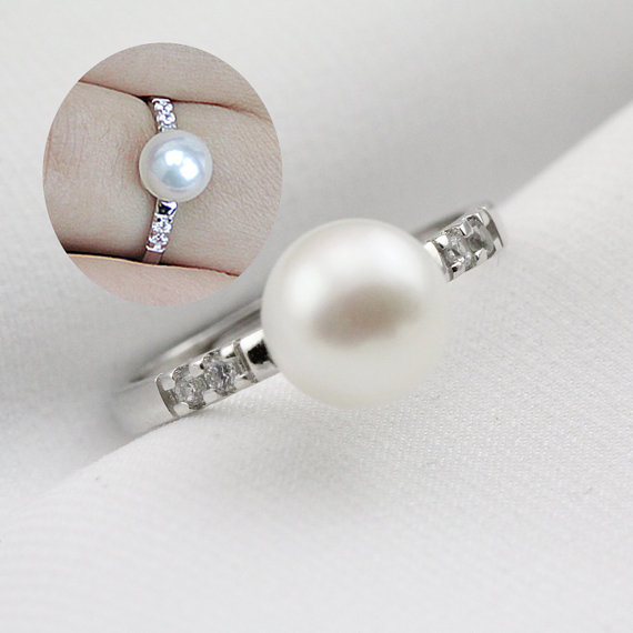 Pearl Wedding Rings For Women open Pearl Ring inexpensive Engagement Rings fa