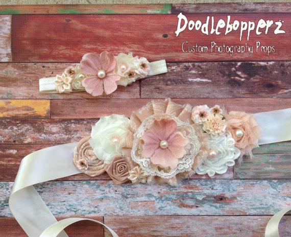 Hochzeit - Maternity Sash, Headband, Wedding Sash, Vintage Look, Newborn Photo Prop, Antique, Neutral, Vintage Coral, Taupe, Ivory, Cream, RTS