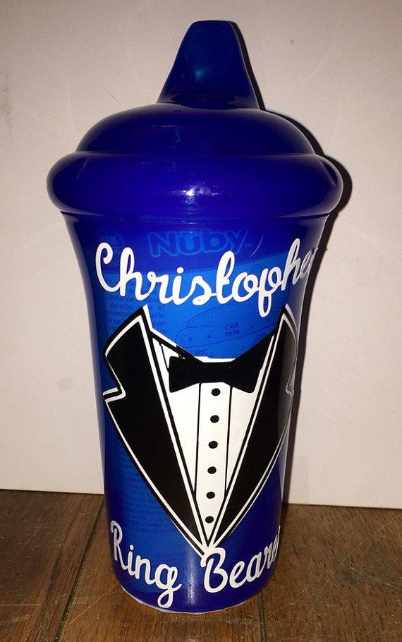 Wedding - Ring Bearer Gift - Personalized Sippy Cup