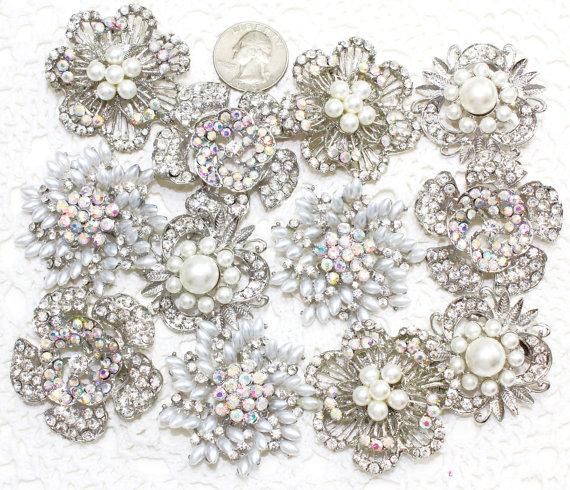 Hochzeit - 12 pcs Rhinestone Pearl Wedding Vintage Pin Brooch, Wholesales Silver-Toned Plated, DIY Wedding Brooch Bouquet Lot Gift Embellishment