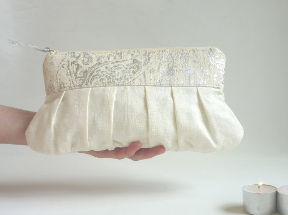 Hochzeit - Silver wedding clutch linen wedding clutch romantic shimmer sparkle metallic clutch bridesmaid gift ivory white cream bridal purse