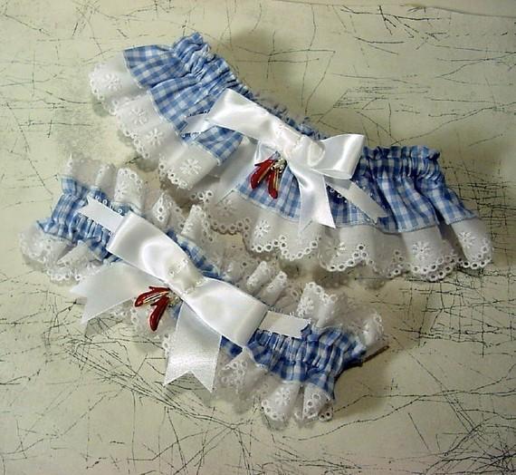 Hochzeit - wedding garter set the Original Ruby Slipper  Wizard of Oz wedding Keep  and  Toss  a Peterene Design
