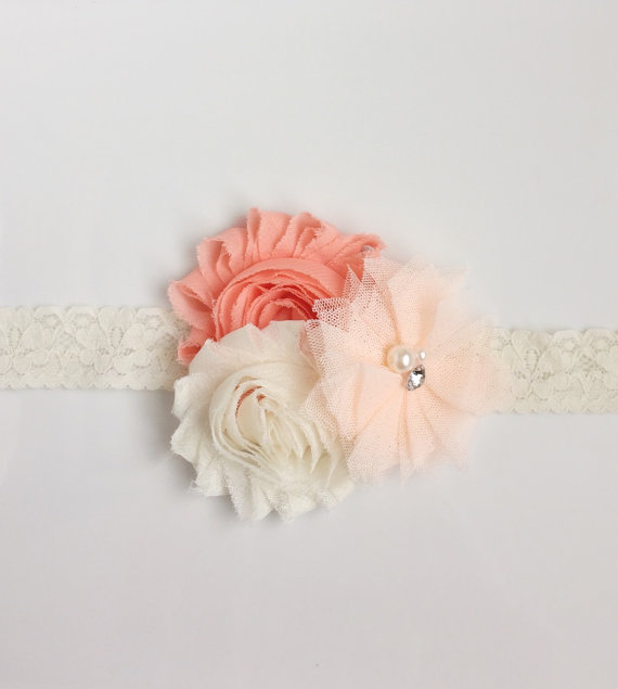 Свадьба - Shabby ivory, coral and light peach tulle headband-Baby Headband-Girl Headband-Women's Headband