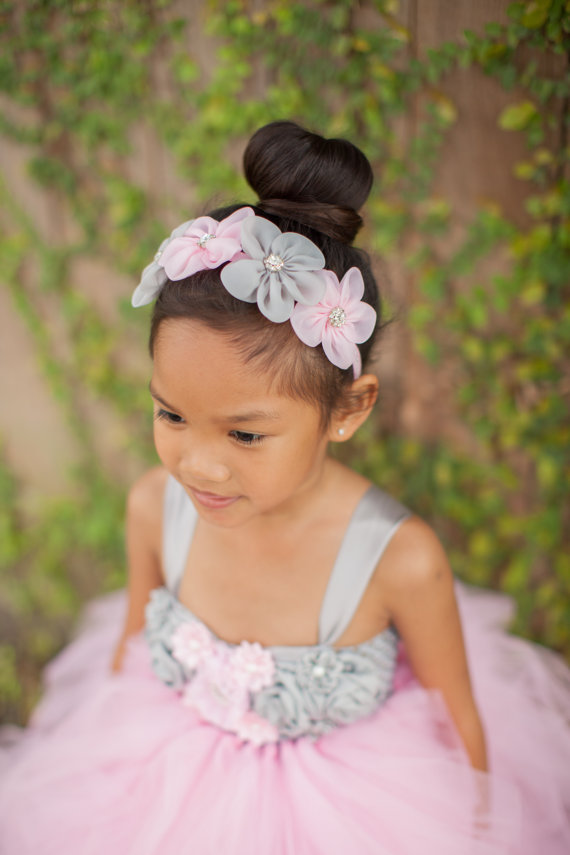 Свадьба - Pink Gray Headband, Flower Girl Headband, Pink Grey Headband, Spring Wedding Headband, Bridal Headband, Pink Gray Wedding, Flower Crown