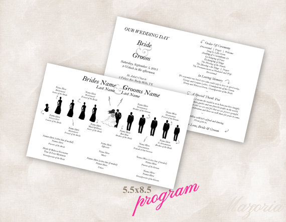 Template Double Sided Arrows Silhouette Wedding Program Custom Made With Your Party In Black Only You Fill Info And Print