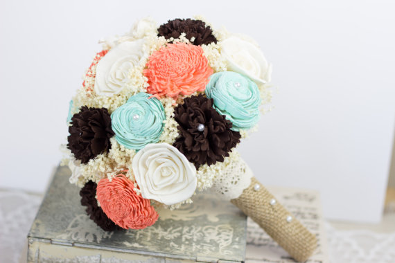Hochzeit - Teal, Coral, Brow and Ivory Sola Bridal Bouquet, Sola Flower Bridal Bouquet, Keepsake Bouquet