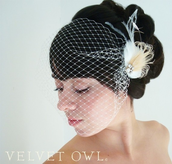 Свадьба - Bridal peacock clip or comb feather fascinator and detachable French Russian netting bandeau birdcage veil - DELANEY