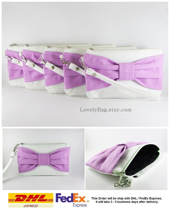 Hochzeit - SUPER SALE - Set of 8 Ivory with Lavender Purple Bow Clutches - Personalized Monogram Zipper Pull, Bridal Clutches, Wedding - Made To Order