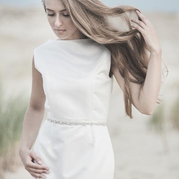 Свадьба - Thin Crystal Sash Belt, Bridal Belt, Bridal Sash Belt, Wedding Bridal Dress Belt Sash