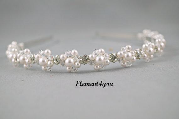 Свадьба - Bridal ivory headband, Pearls crystals tiara, rhinestones, Beaded metal hair band, Bridal accessories, Wedding headpiece, Cream white pink