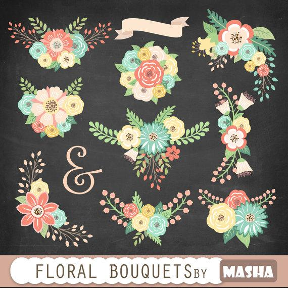 "Hochzeit - Flower bouquets clipart: ""FLORAL BOUQUETS"" floral clipart, flower clip art, wedding clipart, scrapbook flowers for wedding invitations"