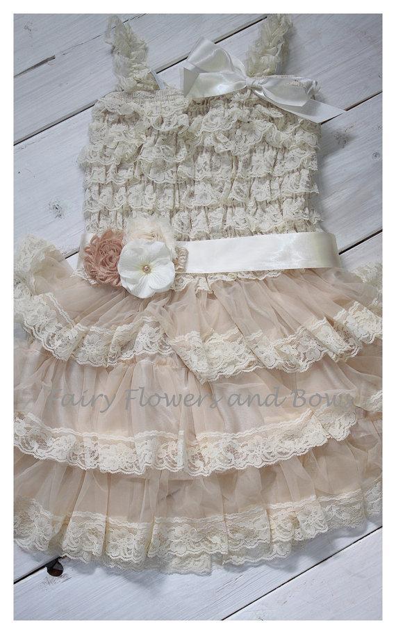 Свадьба - Champagne  Rustic Lace Chiffon Dress with Matching Headband and Sash...Flower Girl Dress, Wedding Dress, Baptism Dress