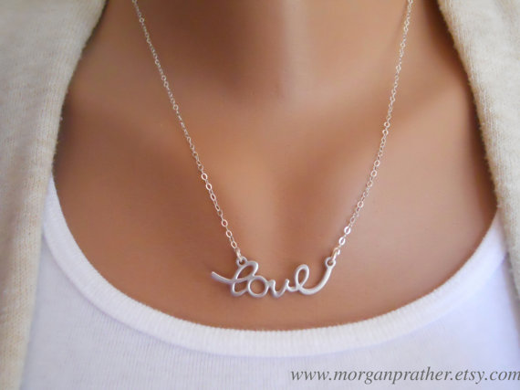 Свадьба - Cursive Love Necklace in Silver - Perfect Gift - Dainty Love Pendant - Wedding Jewelry - Bridal Jewelry - Simple Everyday