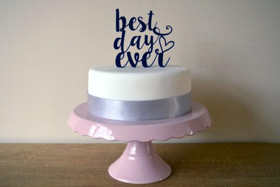 زفاف - Best Day Ever - Script Typography Wedding Cake Topper - Choose Any Colour