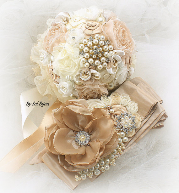 Wedding - Sash, Brooch Bouquet, Jeweled Bouquet, Wedding, Bridal, Ivory, Cream, Champagne, Gold, Pearls, Crystals, Brooches, Lace, Vintage Wedding