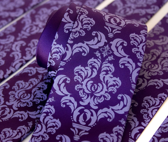 زفاف - 6 damask wedding neckties. Groomsmen ties, group discount. Vegan-safe microfiber ties, matching silkscreened print.