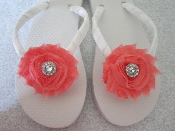Mariage - Embellished Flower Flip Flops - Pick your flower color