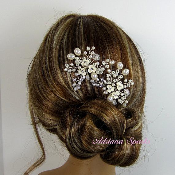 Свадьба - Bridal Flower Hair Pin, Wedding Hair Accessories, Bridal Head Piece, Bridal hair Pin, Bridal Headpieces,  Bridal Headpieces,