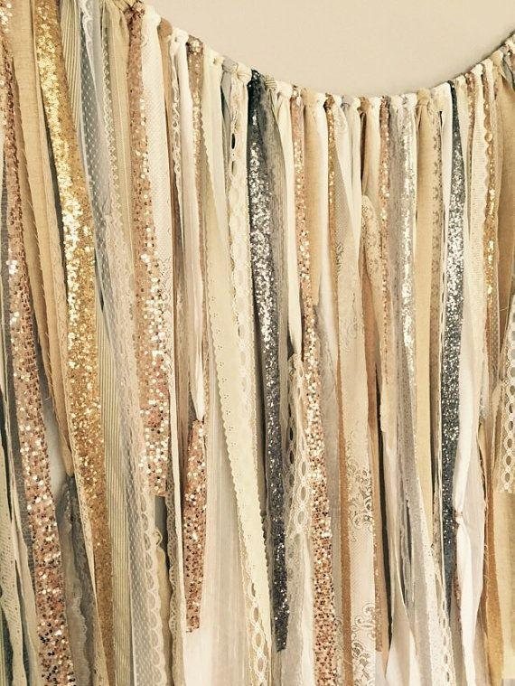 Gold Silver Champagne Rose Gold Sequin Lace Ribbon Sparkle Curtain Wedding Garland