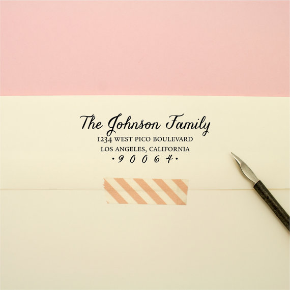 Wedding - Custom Address Stamp - Flowing Cursive Family Self Inking Return Address Stamp