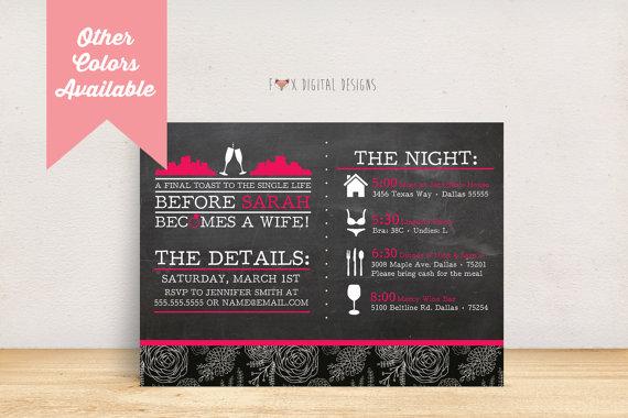 Hochzeit - City Landscape Timeline Bachelorette Party Invite - Custom - Printable