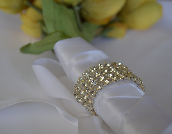 Hochzeit - Bridal Rhinestone Crystal Bouquet Wrap,Bridal Wedding Cuff Bracelet,Bridal Bracelet,Bridesmaide Bracelet