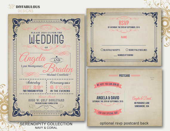 NEW SERENDIPITY COLLECTION Navy U0026 Coral Vintage Wedding Invitation  Printable Rustic Wedding Invitation Suite Wedding Invitation Suite