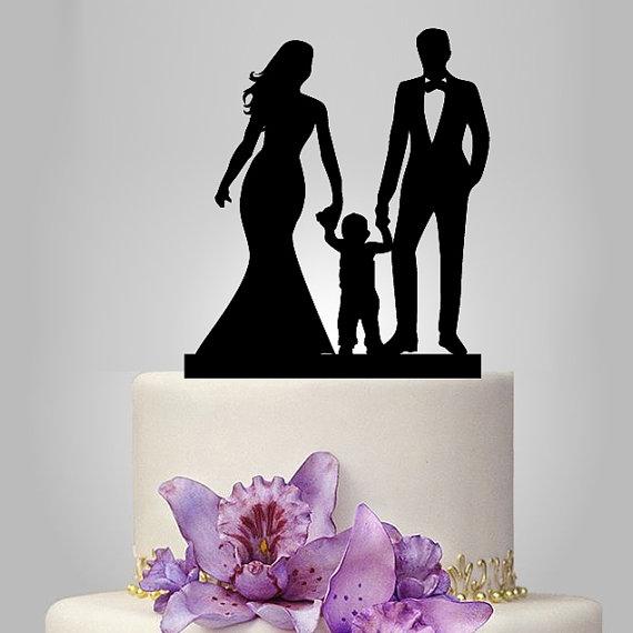 زفاف - acrylic Wedding Cake Topper Silhouette, funny Wedding Cake Topper, Bride and Groom and little boy topper, happy family wedding cake topper,