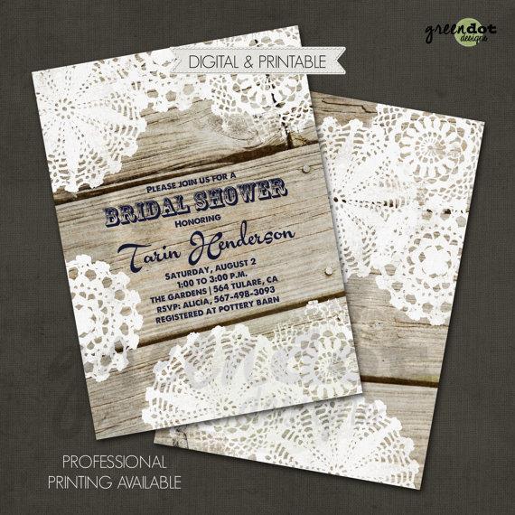 Свадьба - Rustic Bridal Shower Invitation