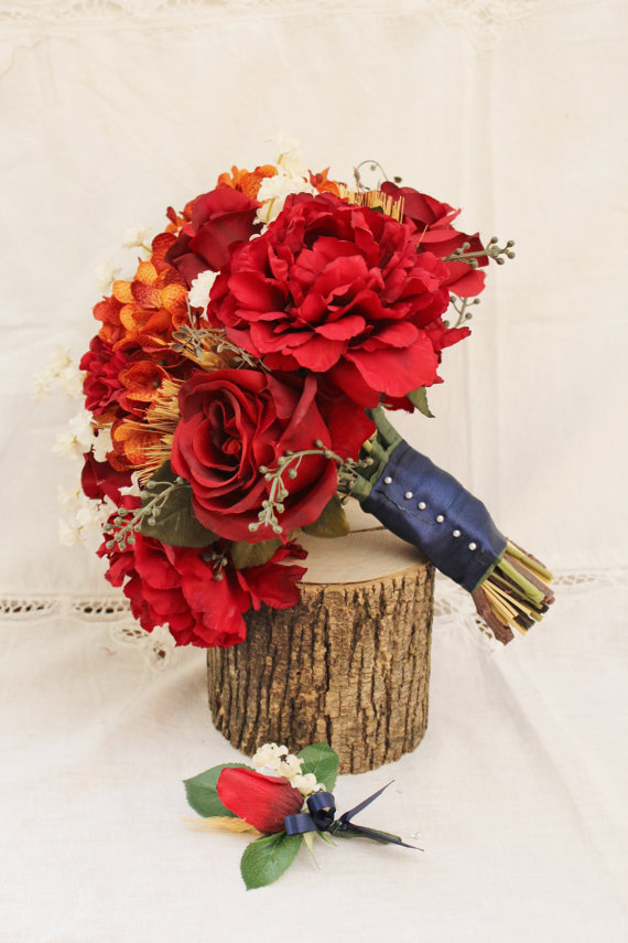 Wedding Bouquet, Wedding Flower, Fall Wedding, Bridal, Silk Flower ...