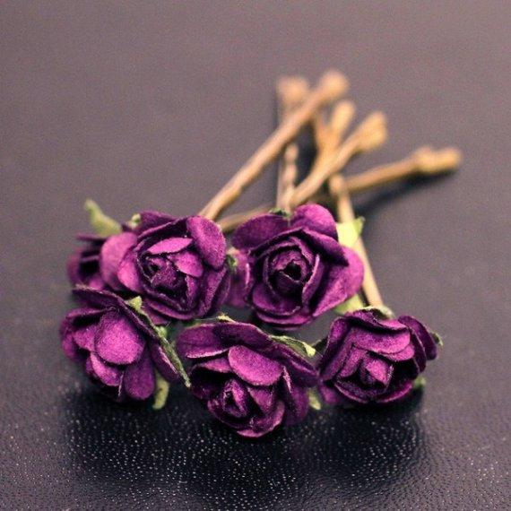 Mariage - Bella Rose Bridal Hair Accessories Wedding Hair Flower - Dark Purple Paper Flower Brass Bobby Pin - Set of 6