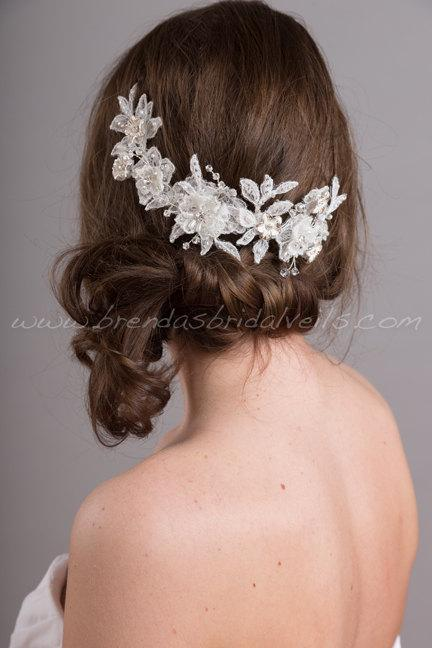 Mariage - Wedding Lace Headpiece, Lace Hair Vine, Bridal Hair Accessory, White or Ivory - Courtney