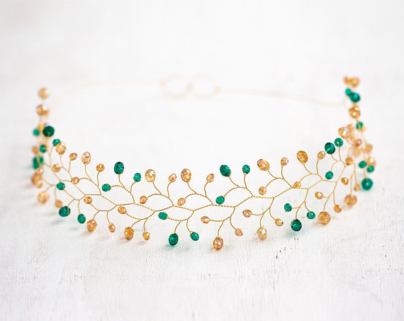 Mariage - Green crystal headband, Gold hair accessories, Bridal hair piece, Wedding crown, Bridal tiara, Hair accessories for bride, Crowns and tiaras