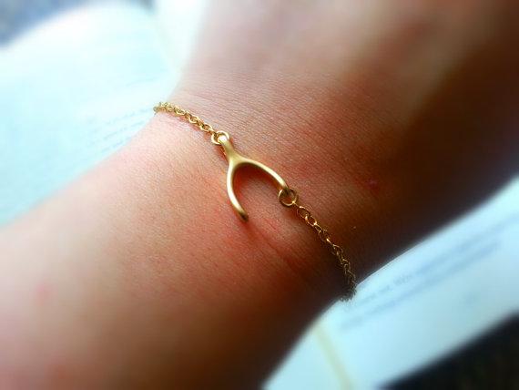 Свадьба - BUY 2 GET Any 1 FREE Matte Gold Sideways Wishbone Bracelet Gold Wishbone Charm Bracelet Bridal Jewelry Bridesmaid Bracelet Women's Jewelry