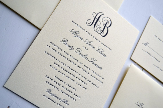 classic monogram wedding invitations jpress designs letterpress classic elegant simple modern quality calligraphy thick card stock - Simple Elegant Wedding Invitations